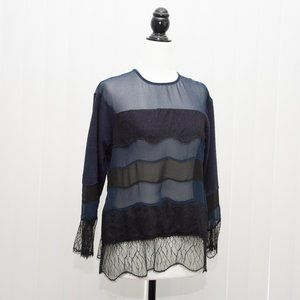 NWT Lilly and Bloom Lacey Sheer Navy Black Top